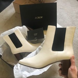 J. Crew Willa leather stacked heel white boots 10